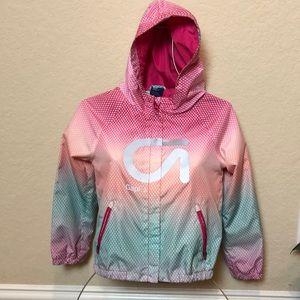 💜3/$25 GAP FIT Kids Pink & Blue Rain Jacket small